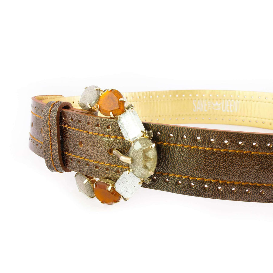 Crystal Embellished Leather Belt