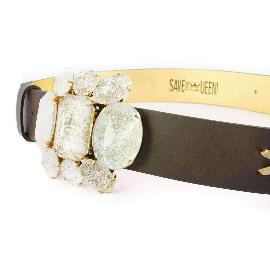 Embellished Crystal Leather Belt