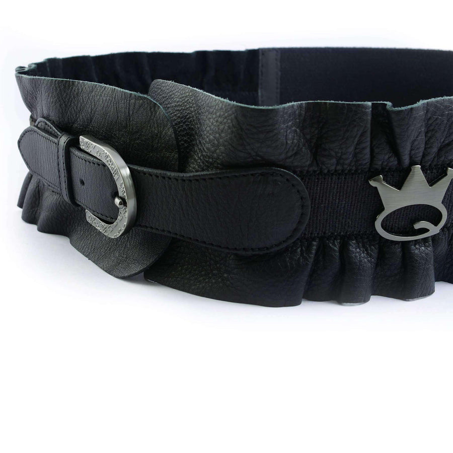 Crown Embellished Leather Belt