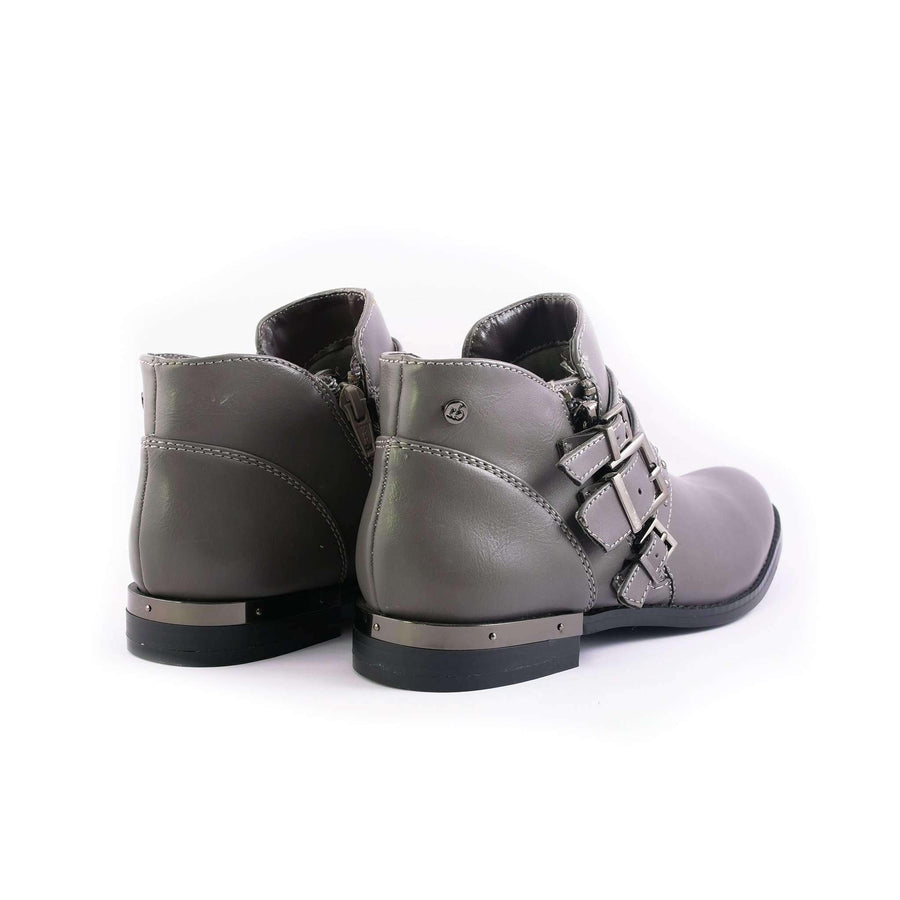 Buckle Strap Leather Boots