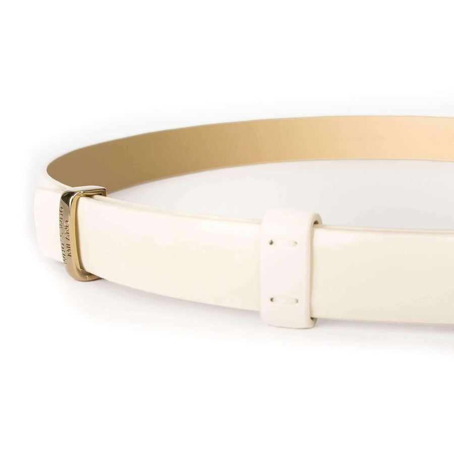 White Cotton-Leather Belt