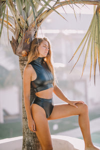 Josie Bikini Black Vegan Leather