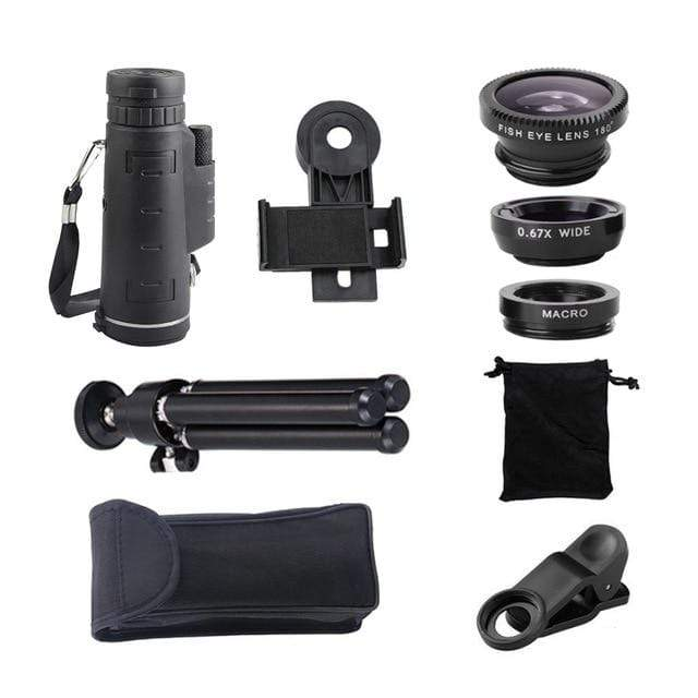Telescope Zoom Phone Lens with Tripod (Includes 3 Bonus Lenses! Fisheye, Wide Angle, & Macro)