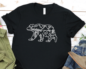 Bear With Scenery Outline T-Shirt