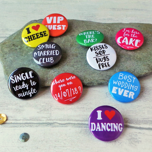 Funny Wedding Favour Badges