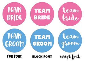 Team Bride Team Groom Badges