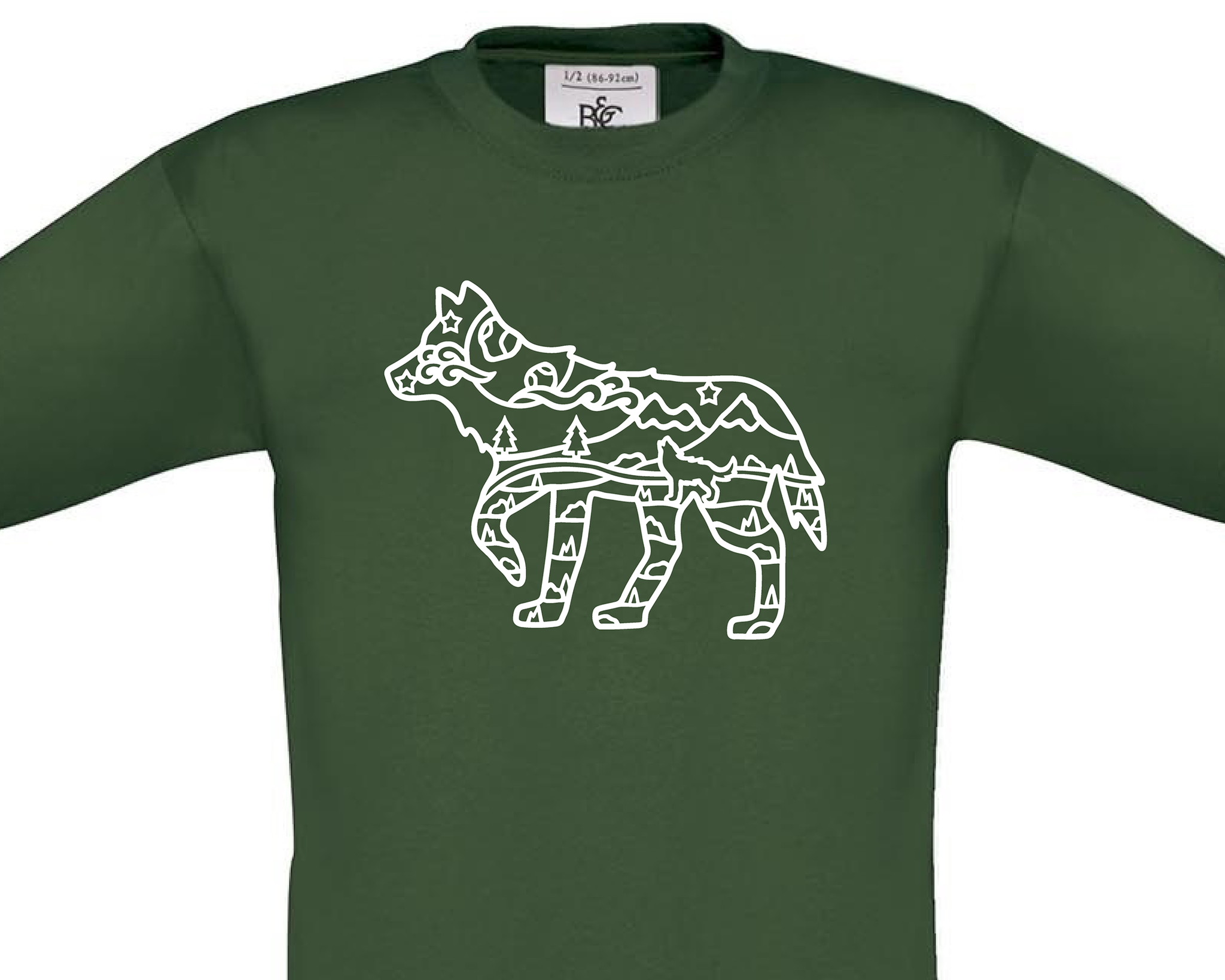 Wolf With Scenery Outline T-Shirt