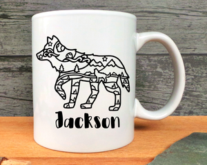 Wolf With Scenery Personalised Mug or Bottle