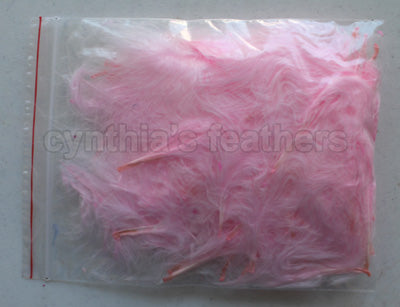 "1/4 oz Baby Pink  1-3"" Turkey Marabou Loose Feathers 50-70 Pieces"