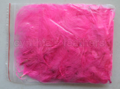 "1/4 oz Hot Pink  1-3"" Turkey Marabou Loose Feathers 50-70 Pieces"