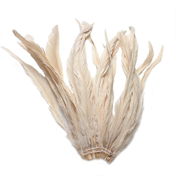 "25pcs 10-12"" Champagne Bleach-Dyed Rooster Coque Tail Feathers"