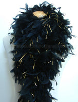 100 Grams Black With Gold Tinsel Chandelle Feather Boa