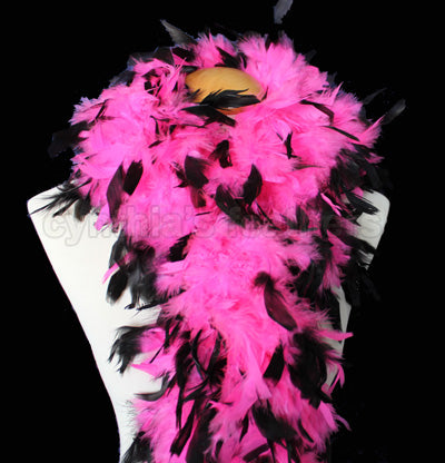 100 Grams Hot Pink With Black Tips Chandelle Feather Boa