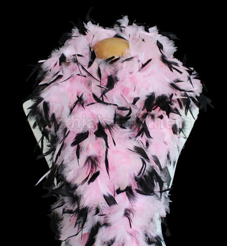 100 Grams Baby Pink With Black Tips Chandelle Feather Boa