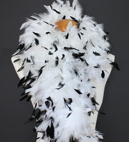 100 Grams White With Black Tips Chandelle Feather Boa