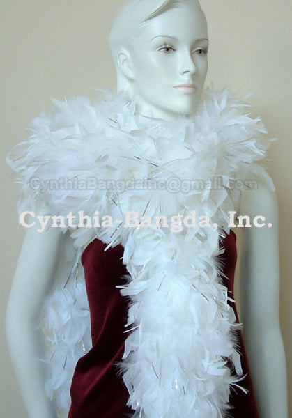 180 Grams White With Silver Tinsel Chandelle Feather Boa