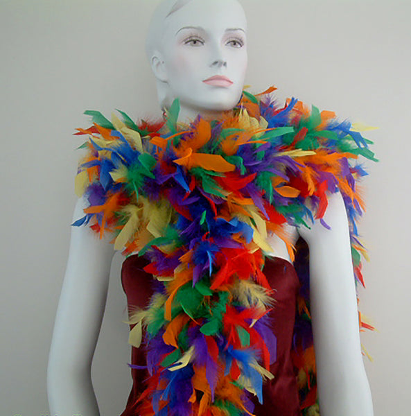 100 Grams Rainbow Mix Chandelle Feather Boa