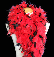 100 Grams Red With Black Tips Chandelle Feather Boa