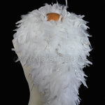 100 Grams White With Silver Tinsel Chandelle Feather Boa