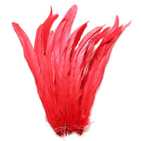 "25pcs 12-14"" Red Bleach-Dyed Rooster Coque Tail Feathers"