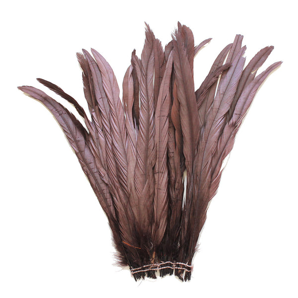 "25pcs 12-14"" Brown Bleach-Dyed Rooster Coque Tail Feathers"