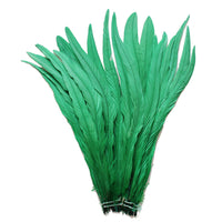 "25pcs 12-14"" Emerald Green Bleach-Dyed Rooster Coque Tail Feathers"