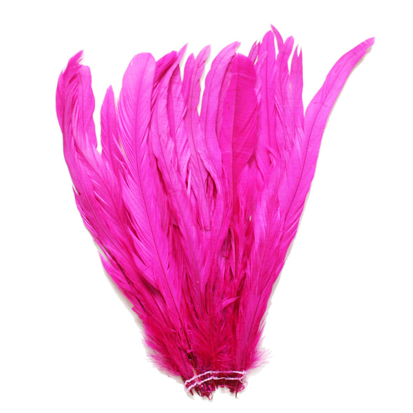 "25pcs 12-14"" Fuschia Bleach-Dyed Rooster Coque Tail Feathers"