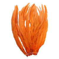"25pcs 12-14"" Orange Bleach-Dyed Rooster Coque Tail Feathers"