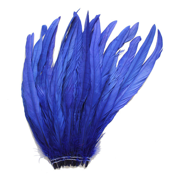 "25pcs 12-14"" Royal Blue Bleach-Dyed Rooster Coque Tail Feathers"