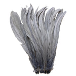 "25pcs 12-14"" Silver Grey Bleach-Dyed Rooster Coque Tail Feathers"
