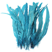 "25pcs 12-14"" Teal Bleach-Dyed Rooster Coque Tail Feathers"