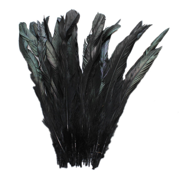 "25pcs 10-12"" Black Bleach-Dyed Rooster Coque Tail Feathers"