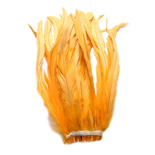 "25pcs 10-12"" Gold Yellow Bleach-Dyed Rooster Coque Tail Feathers"