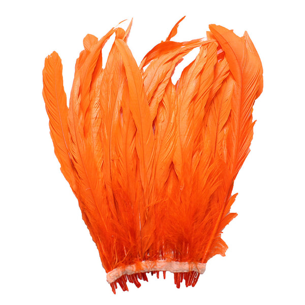 "25pcs 10-12"" Orange Bleach-Dyed Rooster Coque Tail Feathers"