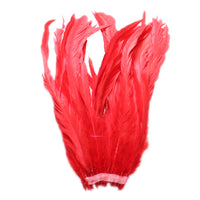 "25pcs 10-12"" Red Bleach-Dyed Rooster Coque Tail Feathers"