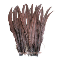 "25pcs 14-16"" Brown Bleach-Dyed Rooster Coque Tail Feathers"