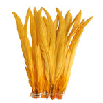 "25pcs 14-16"" Gold Yellow Bleach-Dyed Rooster Coque Tail Feathers"