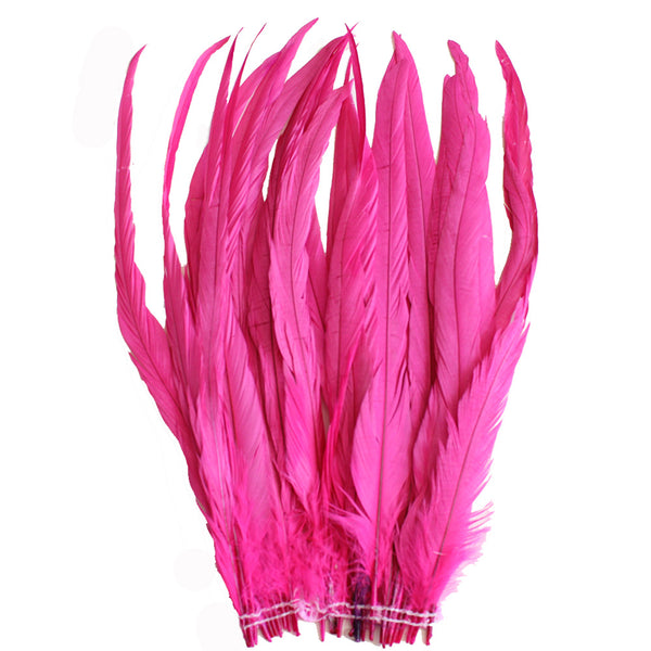 "25pcs 14-16"" Hot Pink Bleach-Dyed Rooster Coque Tail Feathers"