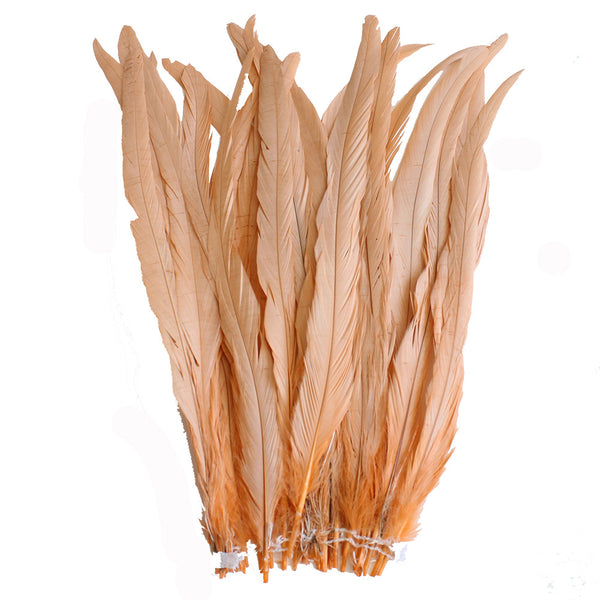 "25pcs 14-16"" Peach Bleach-Dyed Rooster Coque Tail Feathers"