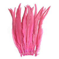 "25pcs 14-16"" Candy Pink Bleach-Dyed Rooster Coque Tail Feathers"