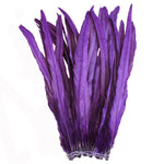 "25pcs 14-16"" Purple Bleach-Dyed Rooster Coque Tail Feathers"