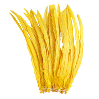 "25pcs 14-16"" Yellow Bleach-Dyed Rooster Coque Tail Feathers"