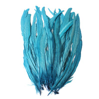 "25pcs 14-16"" Teal Bleach-Dyed Rooster Coque Tail Feathers"