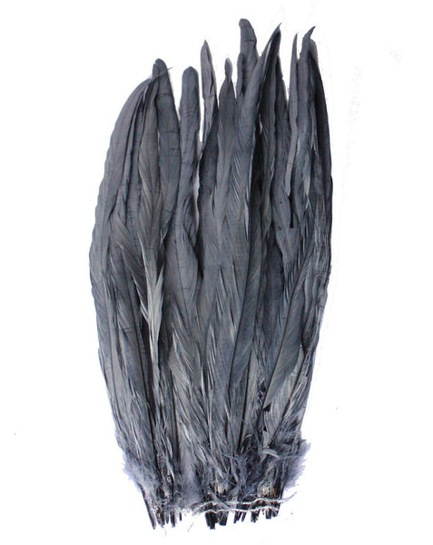 "25pcs 14-16"" Dark Grey Bleach-Dyed Rooster Coque Tail Feathers"