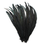"25pcs 16-18"" Black Bleach-Dyed Rooster Coque Tail Feathers"