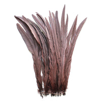 "25pcs 16-18"" Brown Bleach-Dyed Rooster Coque Tail Feathers"