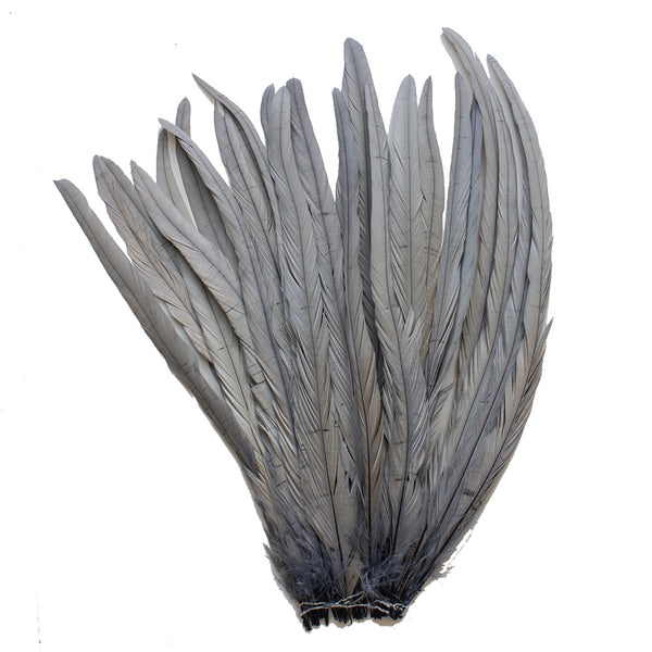 "25pcs 16-18"" Silver Grey Bleach-Dyed Rooster Coque Tail Feathers"