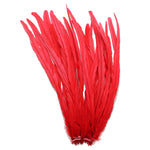"25pcs 16-18"" Red Bleach-Dyed Rooster Coque Tail Feathers"