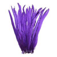 "25pcs 16-18"" Purple Bleach-Dyed Rooster Coque Tail Feathers"