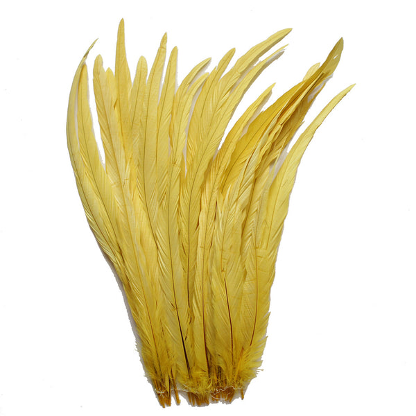 "25pcs 16-18"" Yellow Bleach-Dyed Rooster Coque Tail Feathers"